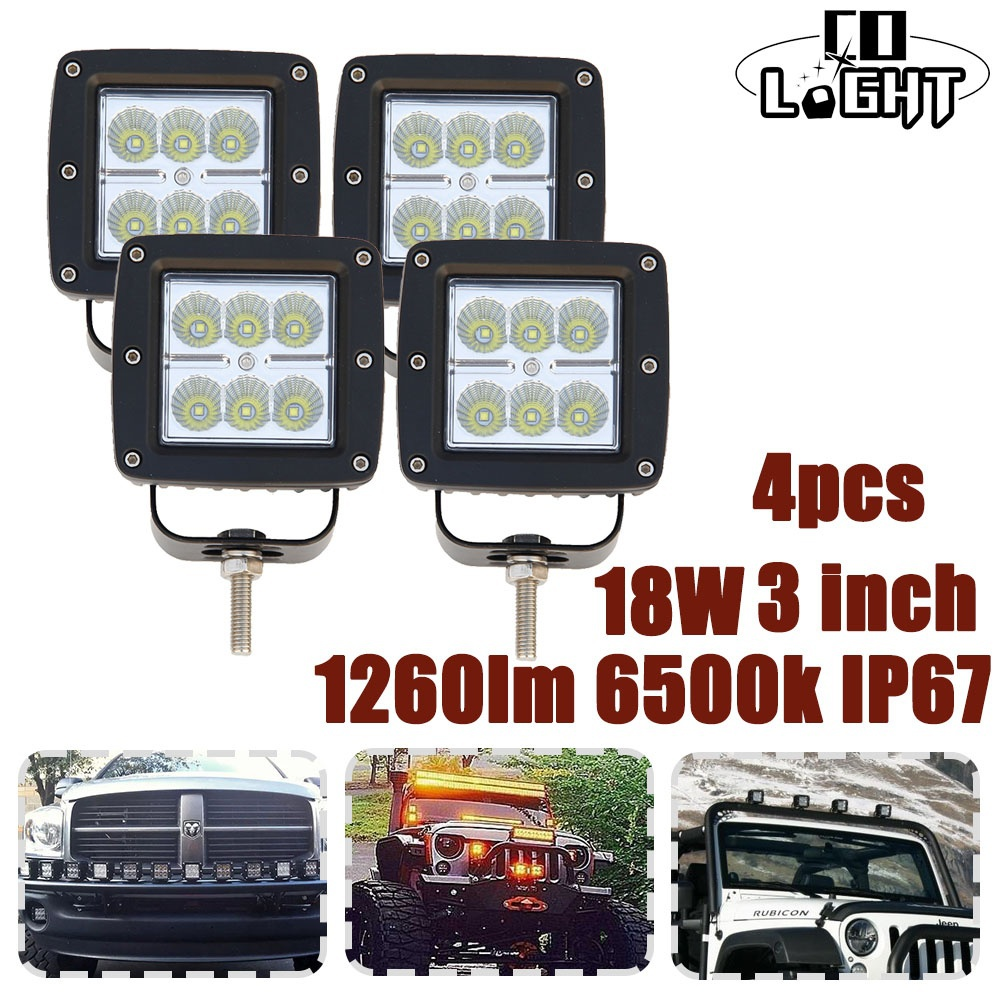 CO LIGHT 4PCS 3Inch 18W Led Work Light Spot & Flood Led Beams For Off road ATV Lada Niva Jeep Auto Driving Light 12V 24V Led Bar