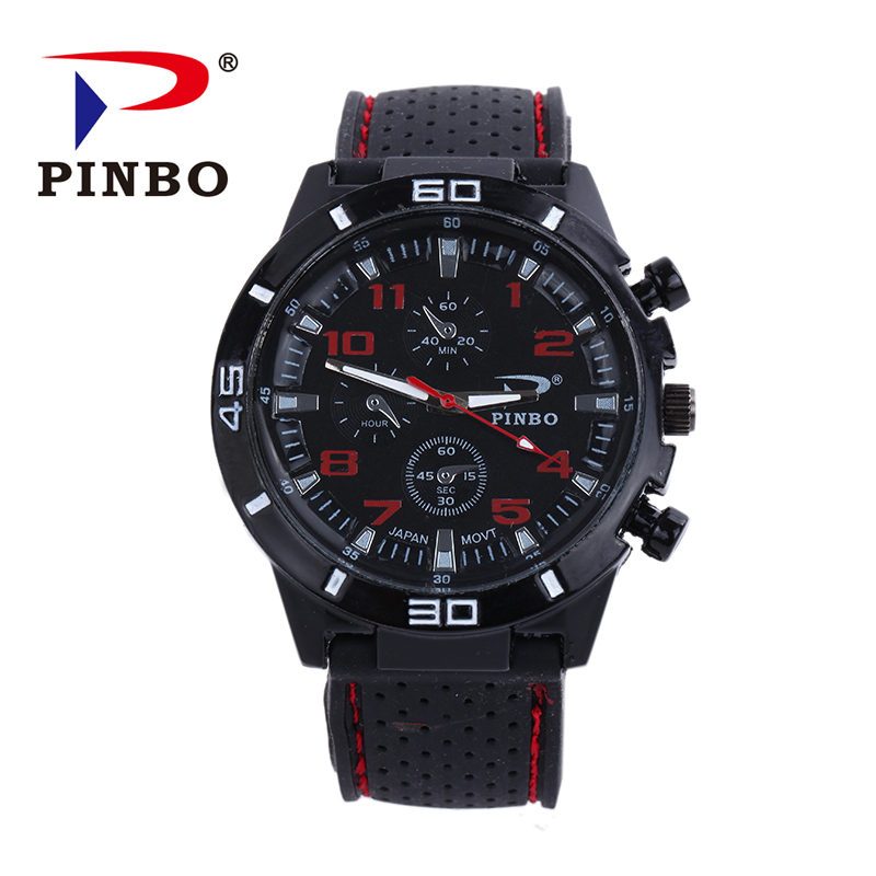 цены 2016 New PINBO Brand Men Sports Quartz Watch Men Silicone Strap Military Wrist Watches Relogio Masculino Clock Hot Sale
