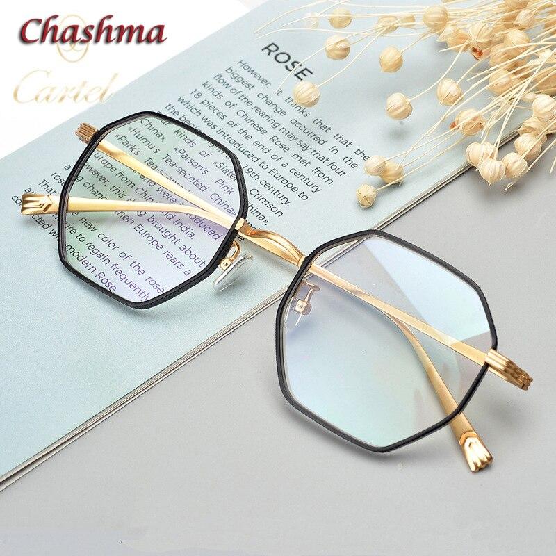 Chashma octogone titane lunettes cadre femmes or avec lunettes noires hommes grand cercle mode lunettes pour femme