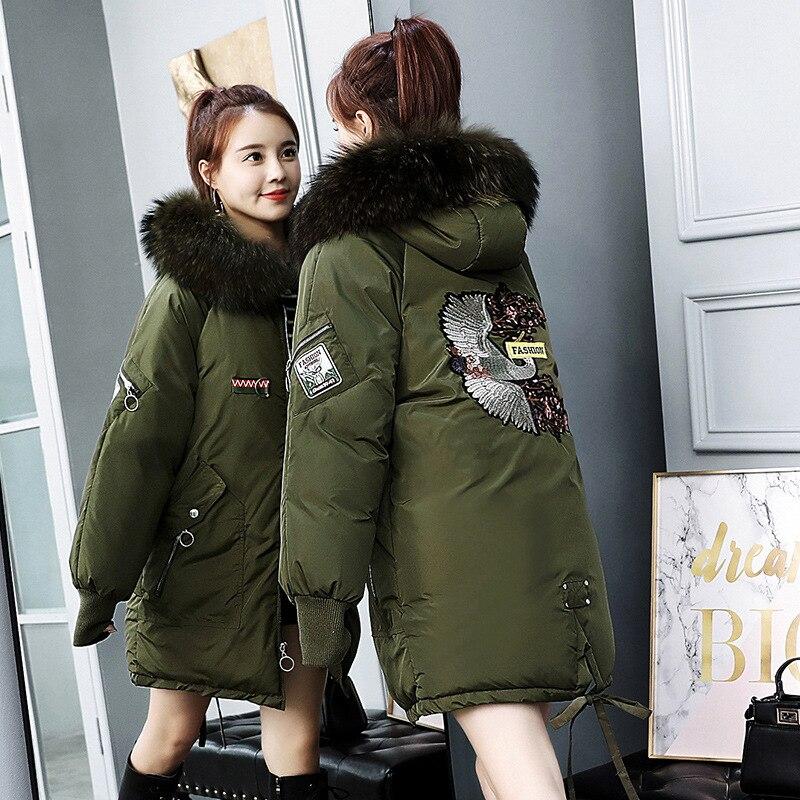 Femmes Taille Mince Épais Grande army Green Chaud Black Section Fourrure Longue Manteau Extérieure 2018 gray Nouvelles Grand D'hiver caramel De Brodé Colour Col white Tq081 Veste 055wqY