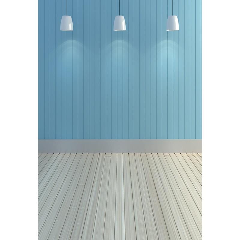 Vinyl Photography Background Blue Wooden Floor Computer
