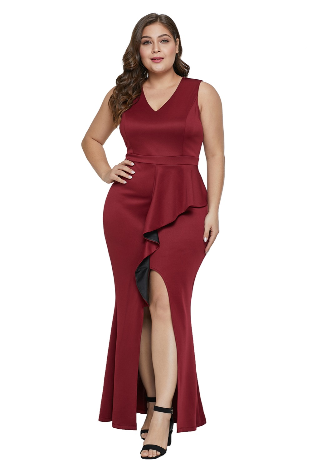 d2514fbc91dac BIG SALE] Gosopin V Neck Plus Size Sexy Slit Dress Women Summer ...