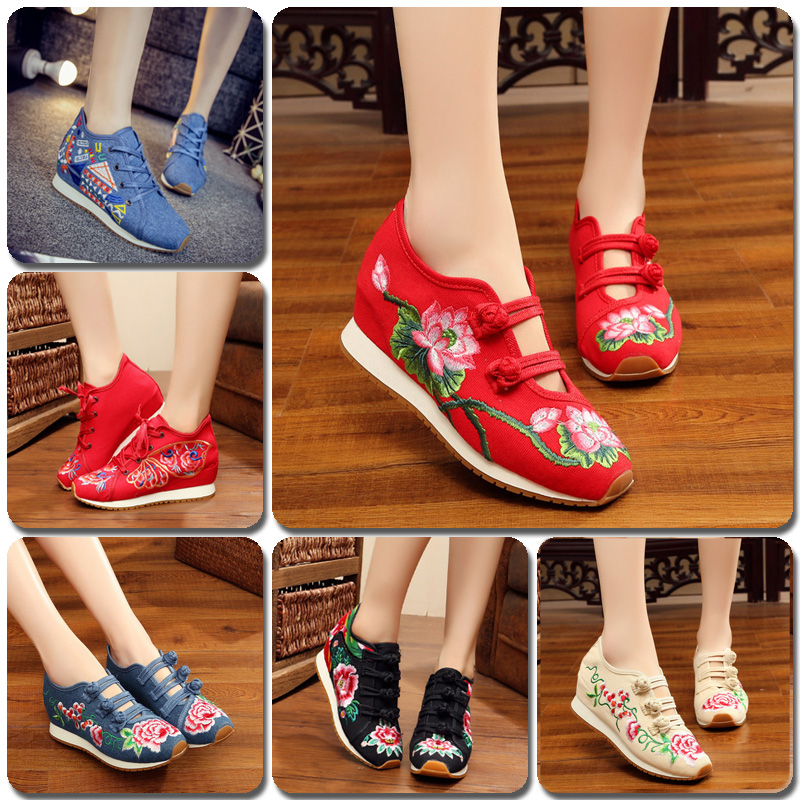 2018 Spring Cashmere Cotton Women Fashion Flats Chinese Style Old Peking Embroidery Casual Canvas New Students Increased Shoes traditional chinese style shoes embroidery dance women fashion old beijing mary jane shoes woman red flats single casual plus 41