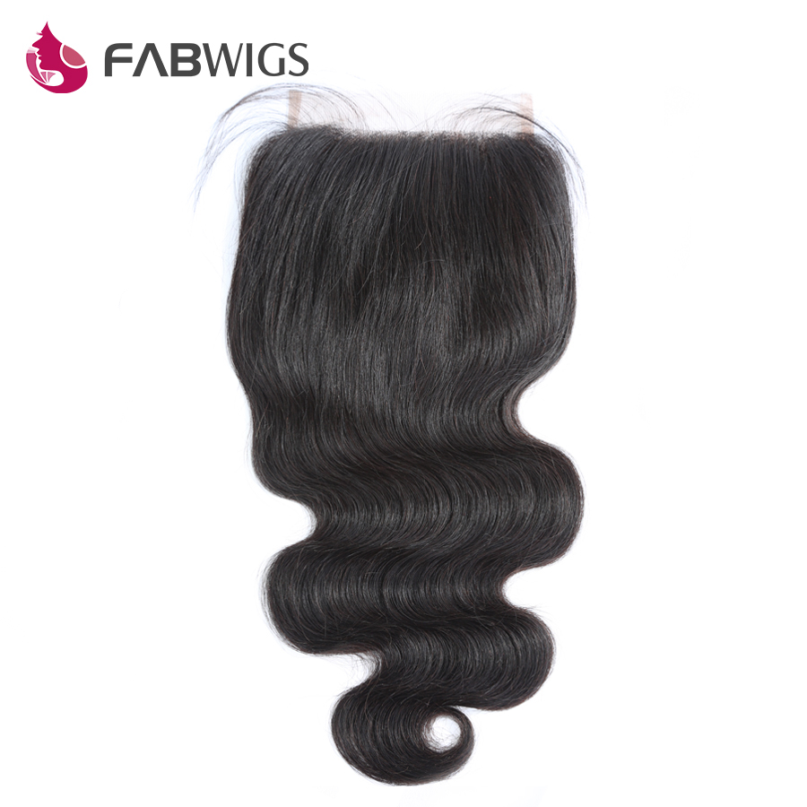 Fabwigs 5x5 Body Wave Lace Closure with Baby Hair Brazilian Hair Closures Bleached Knots Remy Hair