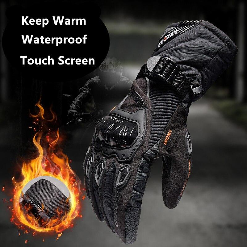 Suomy 2017 Inverno moto calda 100% Impermeabile antivento Guantes Moto Luvas Touch Screen Motosiklet Eldiveni