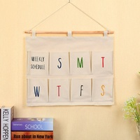 New Practical Multiple Pockets Cotton Naturally Wall Hanging Storage Bags Organizer Cosmetic Sundries Storage Bag Home