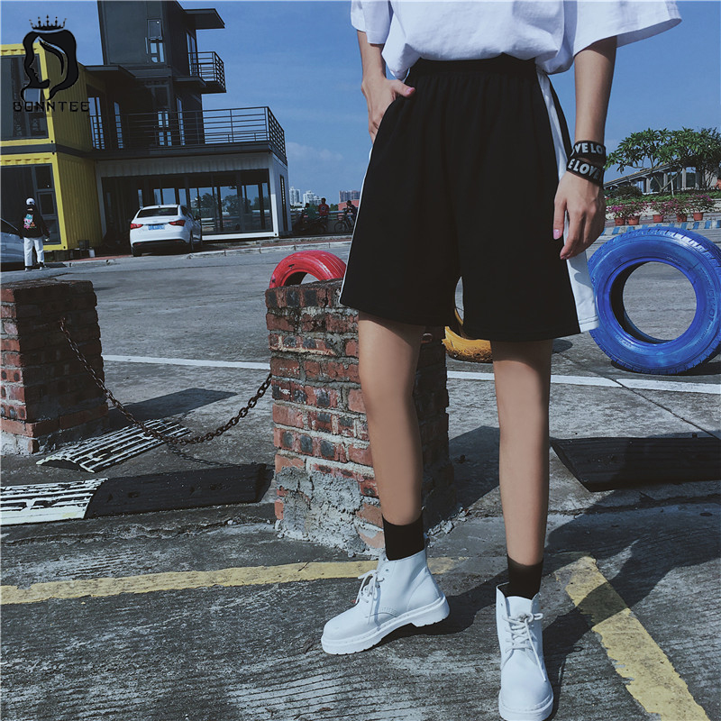 Harajuku BF Loose Newest Summer Womens Short Trendy Fashion School Students Shorts Women High Waist Female Solid Lovers Females