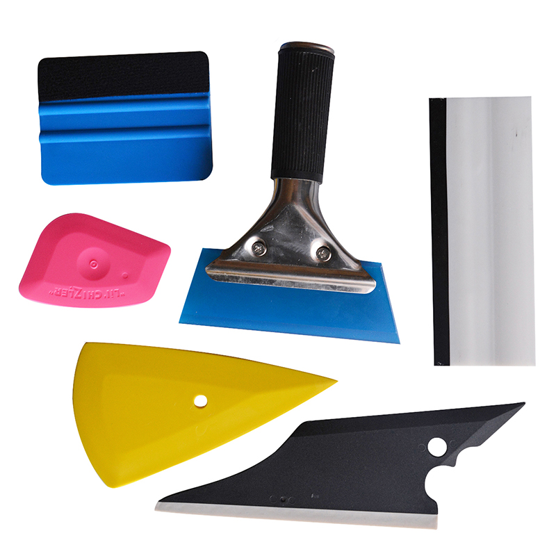 EHDIS 6Pcs Rubber Squeegee Vinyl Car Wrap Tool Set Scraper 3D Carbon Fiber Vehicle Glass Window