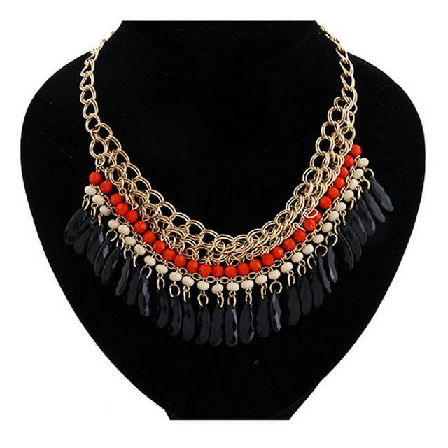 Fashion Korean Bohemian Statement Choker Necklace Collier femme Beads Necklaces & Pendants Maxi Necklace Women Accessories