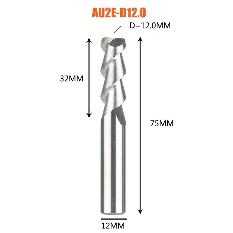 1 pc 3 флейты фрезы вольфрамового сплава концом ЧПУ фреза алюминий фреза для алюминия и деревообрабатывающие - Длина режущей кромки: 1PC-AU2E-D12.0