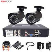 Охранная камера cctv система безопасности комплект видеонаблюдения 2 камеры HD 720 P/1080 P 4ch dvr наблюдения водонепроницаемый ночное видение