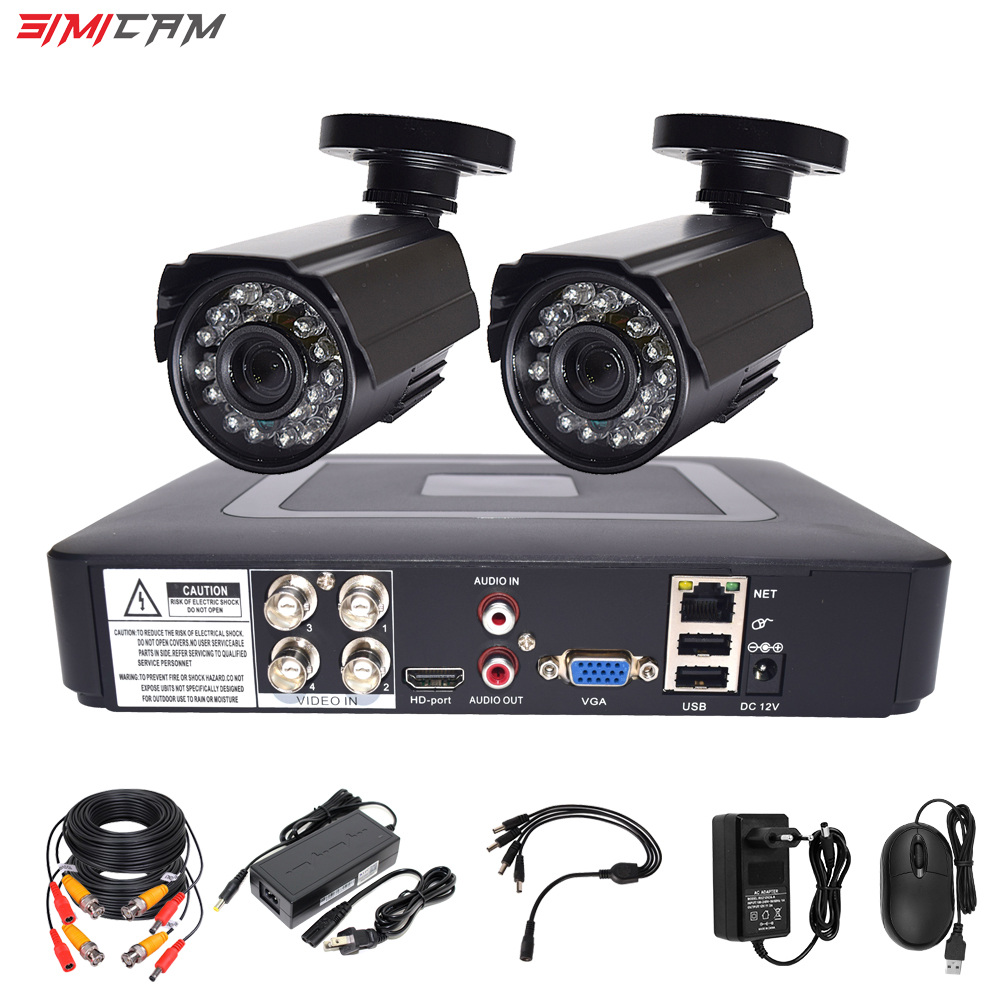 Security Camera Cctv Security System Kit Video Surveillance 2 Camera HD 720P/1080P 4ch Dvr Surveillance Waterproof Night Vision