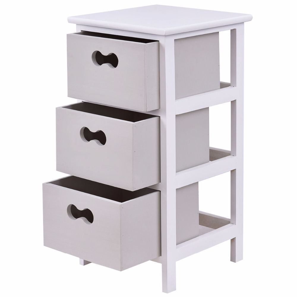 Goplus Nightstands with 3 Drawers Home End Table Bedside Cabinet ...