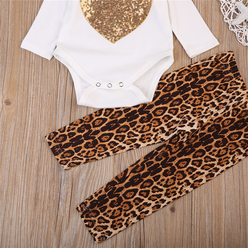 8a8b4e5fb7b695 Emmababy 2PCS Kids children Baby Girl Clothes Set girls sequins love  leopard print Romper +Pants Leggings bebe Outfits clothing-in Clothing Sets  from Mother ...