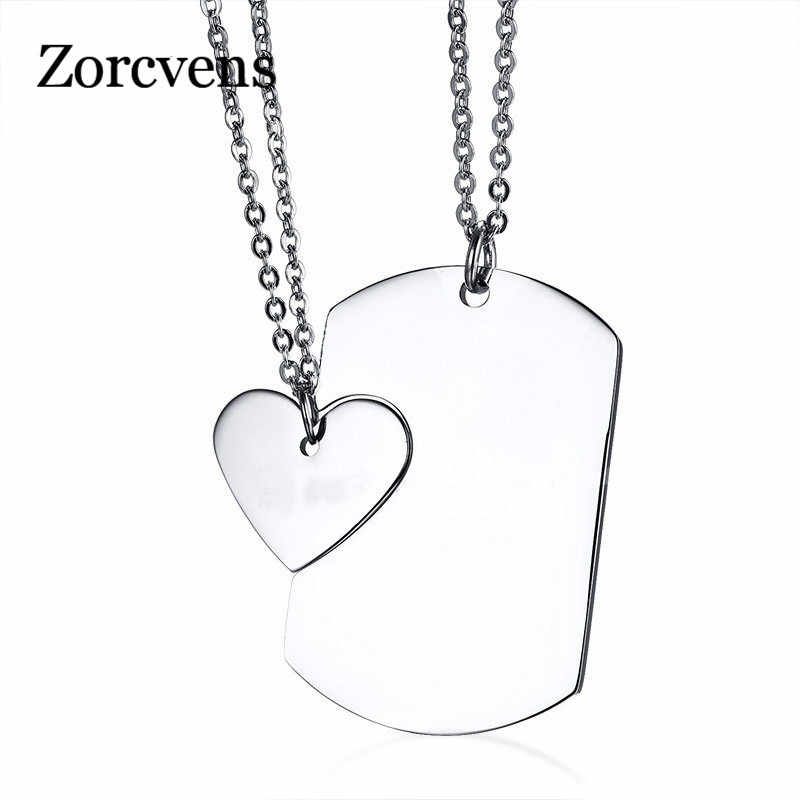 LETAPI Couple Necklace ID Dog Tag Heart Pendant High Polished Stainless Steel Trendy Women Men Jewelry