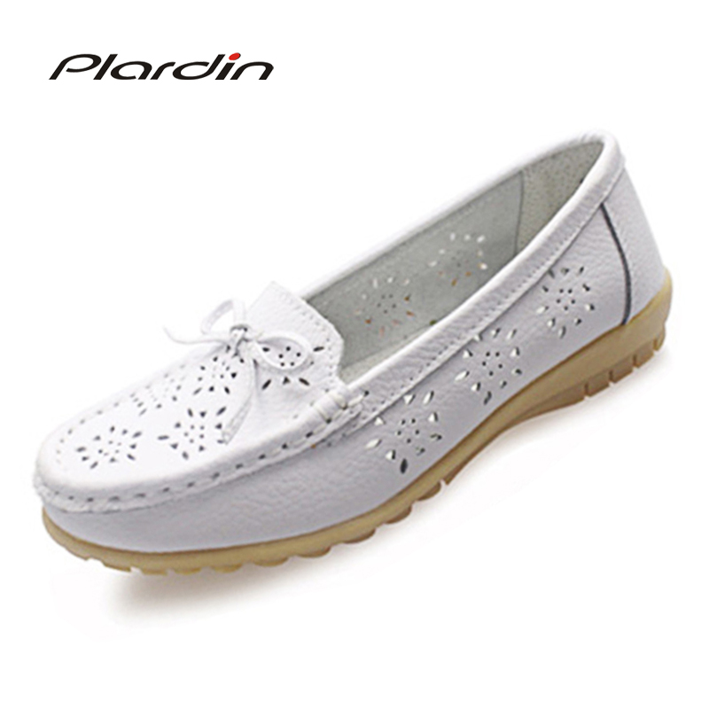 Fashion Women Genuine Leather Loafers Flats Buckle Metal Decoration Nurse Mother Shoes