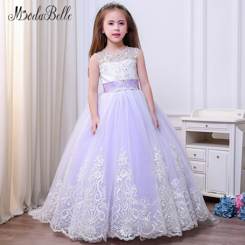 best deals on undefeated x detailing modabelle Beaded Lace Applique Flower Girl Dresses With Long ...