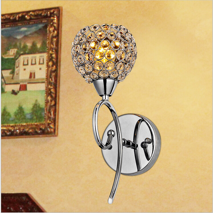 ФОТО D120mm H400mm Crystal wall Lamp luxury Bedroom Bedside Candle K9 crystal wall lamp AC E14 wall lights Free Shipping