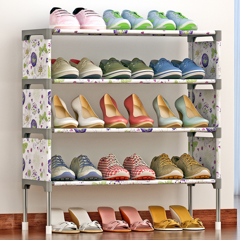 Fashion Shoe rack Non-woven 5 layer printing Easy Assembled Shoes Shelf Storage Organizer Stand Holder Living Room Furniture non woven fabrics hanging type 18 cd dvd card holder beige