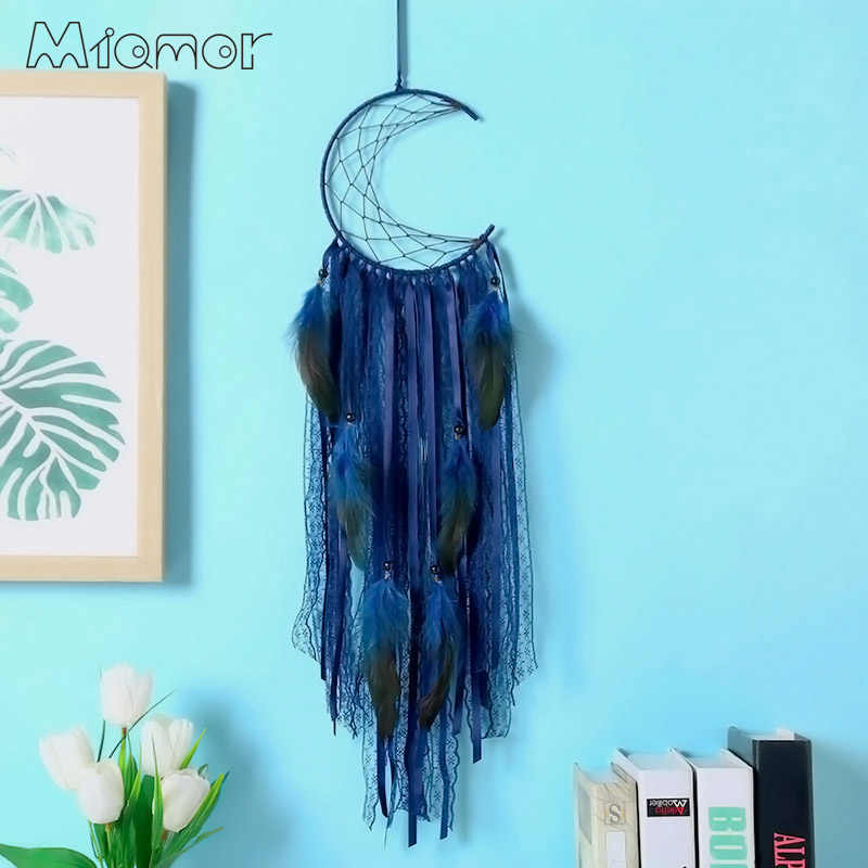 3 Colors Half-moon Dreamcatcher Handmade Dream Catcher Net With Feathers Home Wall Hanging & Bar & Party Decoration Amor0096