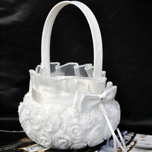 New Top Sell Wedding Ceremony Party Love Case Satin Bowknot & Rose Flower Girl Basket Wedding gift Hand Collection Bag BS