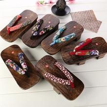Wooden Slipper Japanese shoes Women's Classical cosplay Geta sandals 2016 summer shoes 9 Color Flip Flops Beach Sandals #1006-3