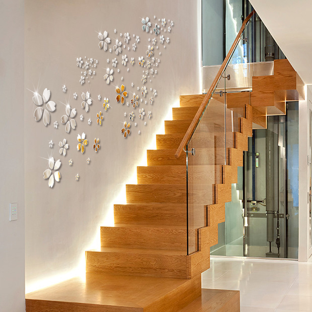 KEDODE creative 3D stickers acrylic paste gold and silver mirror heart shaped petals mirror wall stickers MS361255