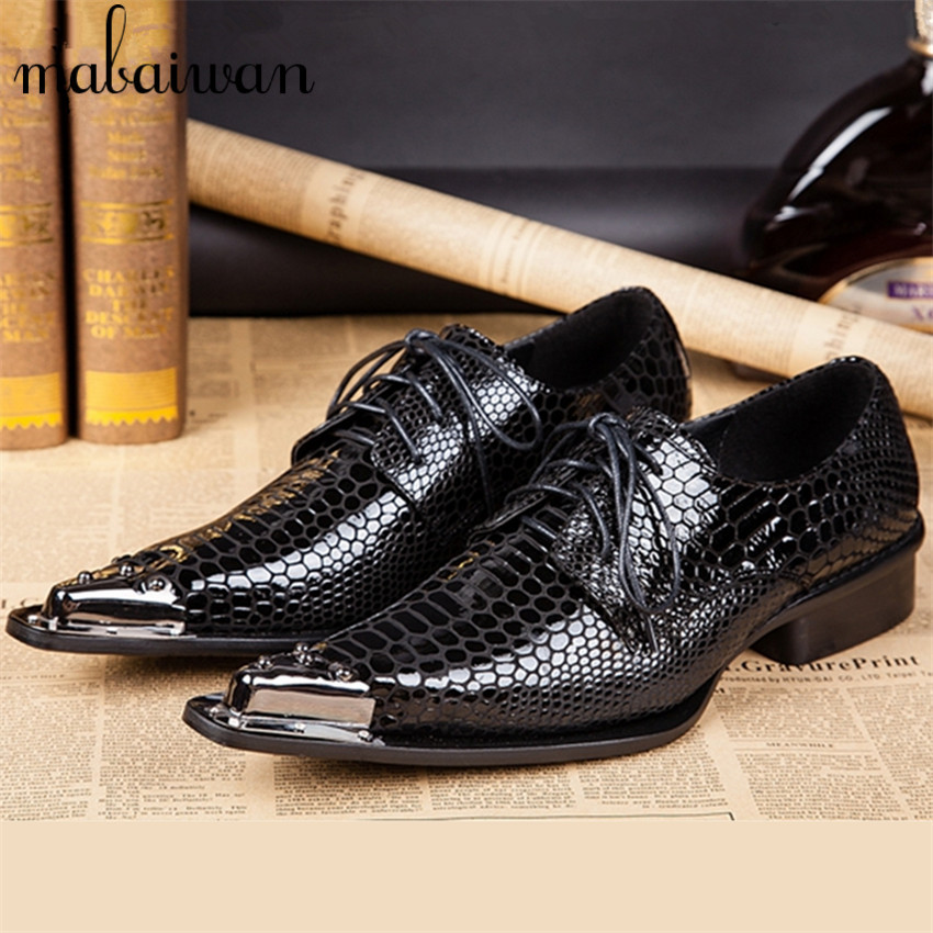 Black Fashion Style Men Metal Pointed Toe Genuine Leather Oxfords Mens Wedding Dress Shoes Lace Up Flat Shoes Chaussure Homme black fashion men metal pointed toe genuine leather oxfords mens wedding dress shoes lace up flat shoes chaussure homme creepers