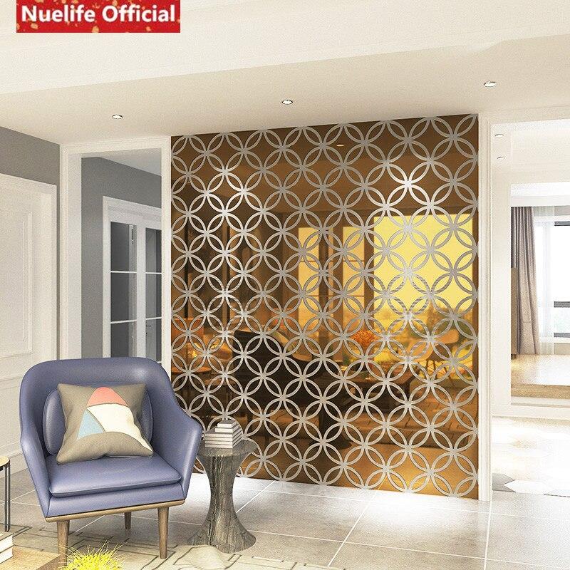 Círculo estilo chino cobre patrón de dinero espejo adhesivo Sala dormitorio fondo de sofá, televisión u oficina pegatina espejo decorativo - 2
