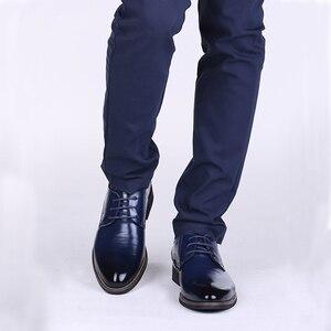 Image 5 - Oxfords chaussures en cuir pour hommes, baskets britanniques noires et bleues, confortables, faites à la main, style formel, Bullock, collection chaussures plates pour homme, à lacets