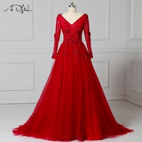 ADLN Long Sleeve Evening Dresses V Neck A Line Tulle Prom Gown Long Backless Party Wear