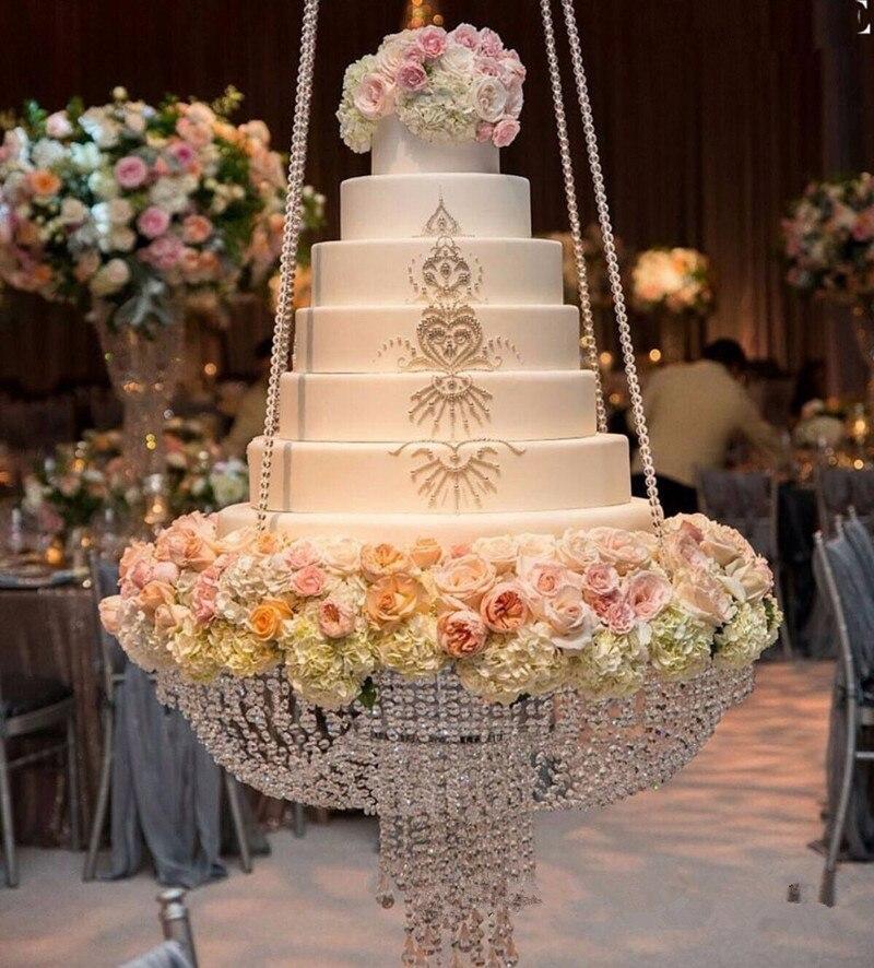 Dia 60 cm rond cristal lustre gâteau Stand suspendu avec cristal perlé gâteau Table centres de Table pour la décoration de mariage