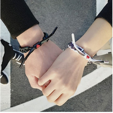 2019 fashion new bracelet love weaving couple student holographic reflective gradient weave