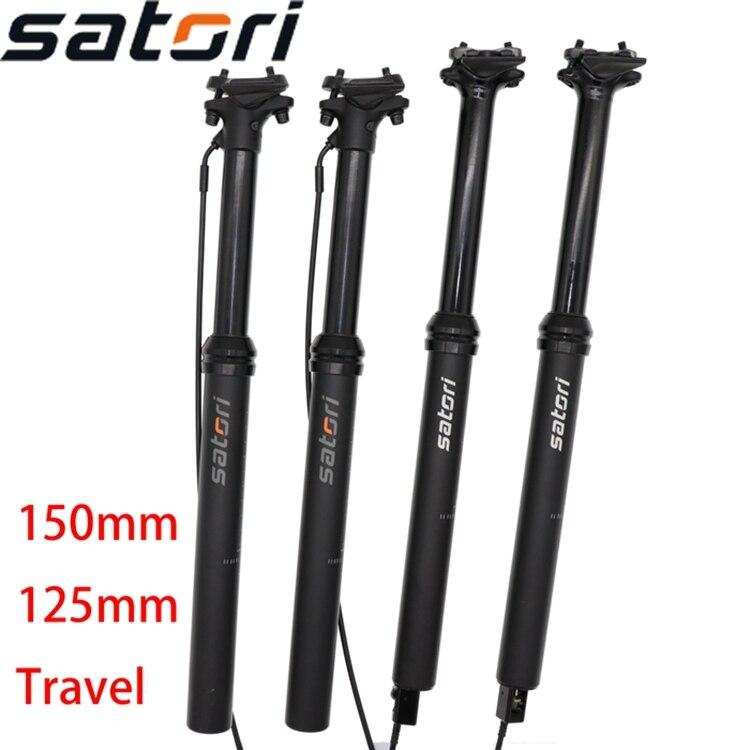 Satori Dropper Seatpost Height Adjustable 150mm Travel  Sorata Pro  Remote Control Internal External Cable Routing Bike 30.9 31.6mm Seat Post