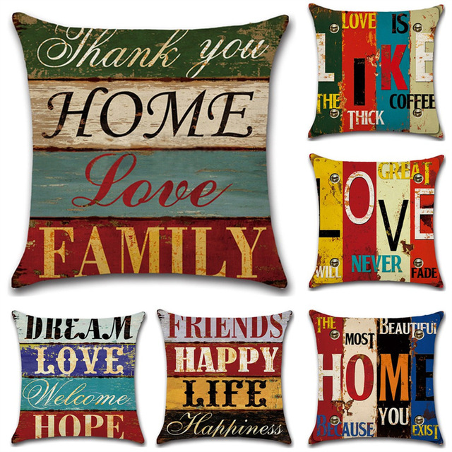 Mediterranean Punk Letters Printed Linen Cushion Cover for Bar Restaurant Living Room Home Kitchen Chair Decorative Pillows Case