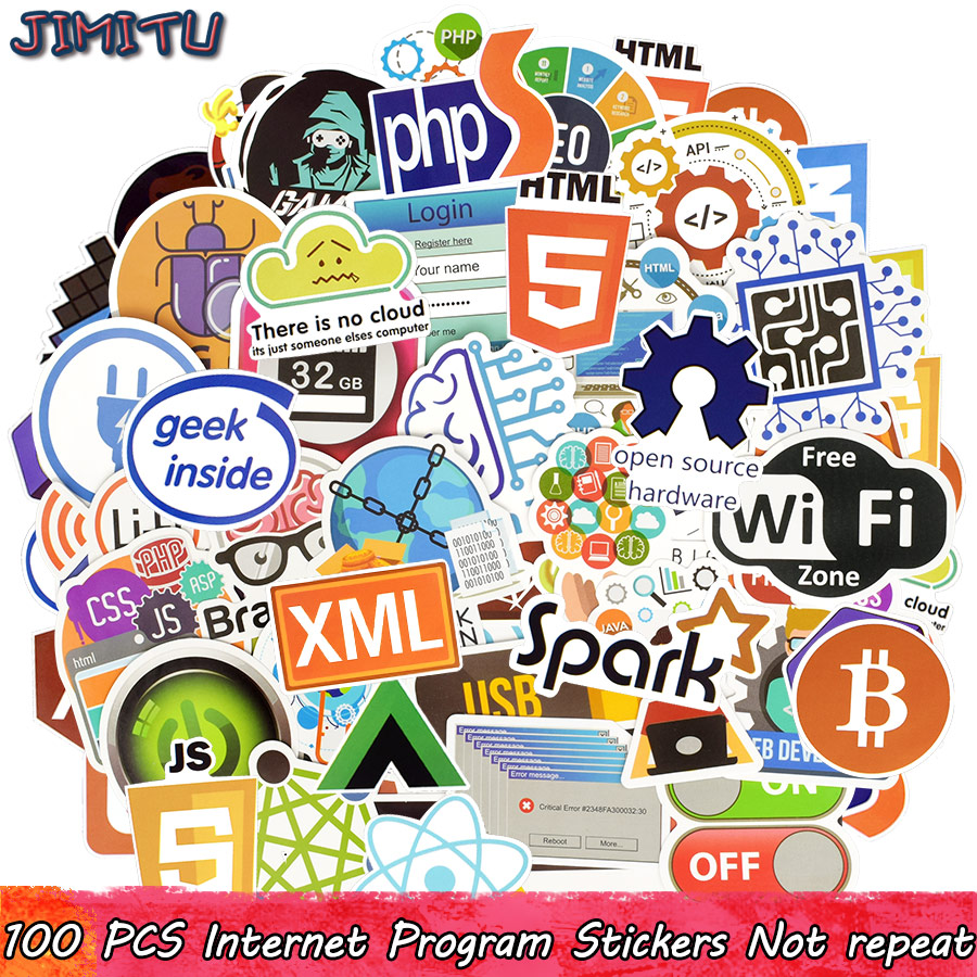 100 PCS Programming Sticker Programs Language Internet Software Decal Stickers For Geek DIY Notebook PS4 Computer Laptop Macbook