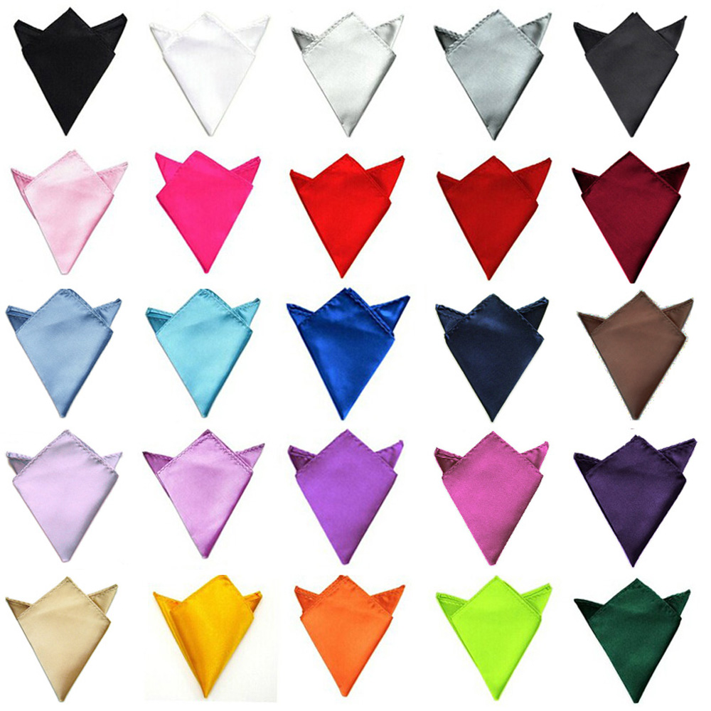 Mens Solid Color Satin Wedding Party High Quality Classic Hanky Pocket Square Handkerchief BWTYY0505
