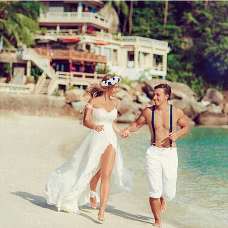 Vestido de noiva line 2018 с открытыми плечами короткий рукав свадебное платье с спереди Разделение Кружева Аппликации пляж нарядные платья