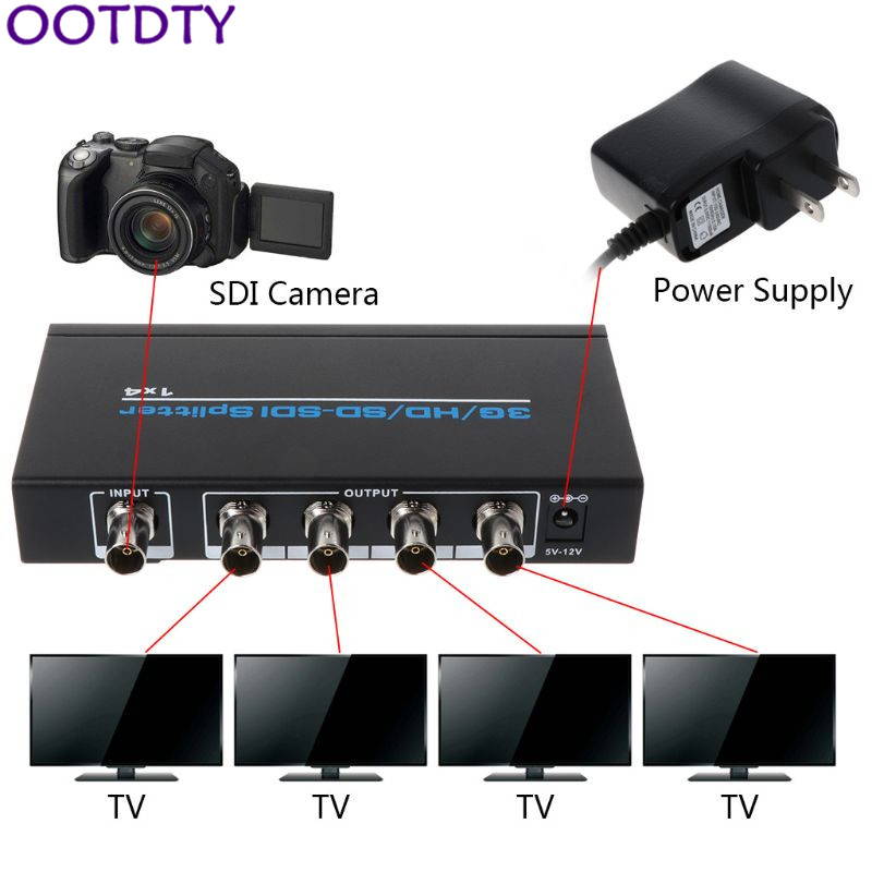 NK-S114 3G/<font><b>HD</b></font>/SD/<font><b>SDI</b></font> 1x4 Splitter Video Switch <font><b>Switcher</b></font> for DVD HDTV Xbox Device Accessories image