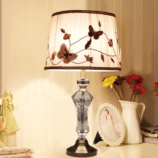 European warm crystal bedroom bedside table lamp simple luxury living room modern American desk lights E27 socket fabric shade