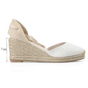 Image 2 - Nowy 0 3cm Tienda Soludos damskie sandały na koturnie pasek na kostkę Cap Toe Espadrille sandały zwięzłe bawełniane tkaniny {sandały} kobiety