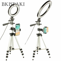 LED Tripod Ring Light Photography Annular Lamp With Phone Holder USB Photo Studio Selfie FB Livestream Youtube Dimmable Lights