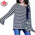 Donnalla Women Stripe T Shirts Vintage Loose Round Neck Flare Sleeve T-shirt Autumn Brief Slim Preppy Style Tees Tops Plus Size