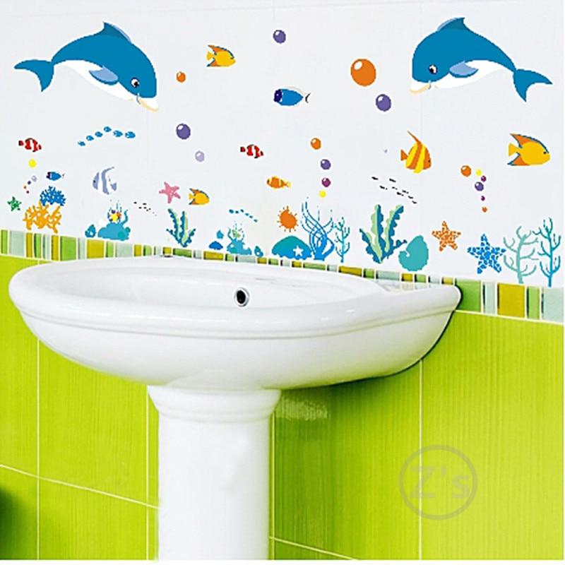 Zs Sticker dolphin fish mundo marino vinilos decorativos ocean fish - Decoración del hogar - foto 3