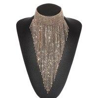 Holylove Corrente de Prata de Ouro Rhinestone Longas Borlas Mulheres Do Partido Evento Nupcial Moda colar Gargantilha Colar Declaração de Luxo
