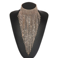 Holylove Gold Silver Chain Rhinestone Long Tassels Women Party Event Bridal Fashion Luxury Statement Choker Collar