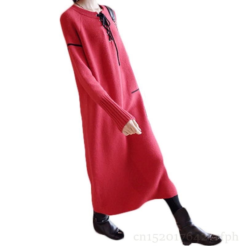 Di alta qualità Maglia del Vestito Delle Donne 2018 Nuovo Autunno Inverno Manica Lunga Addensare Warm Femminile Maglione Abiti di Supporto Lungo Abiti Z240