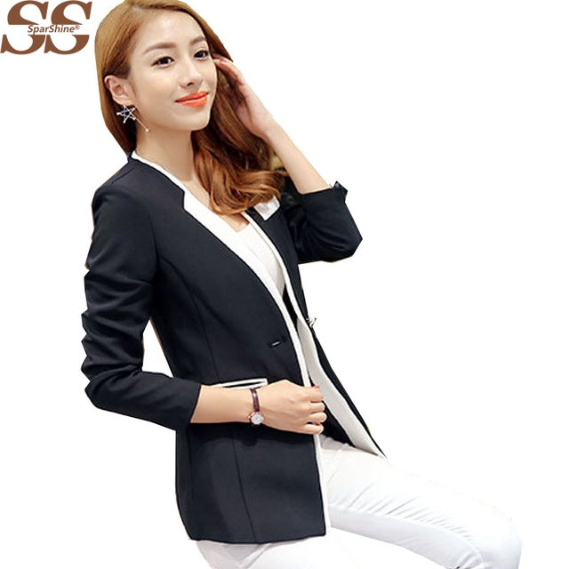 2017 Women Fashion Suit  Long Sleeve ladies blazers Solid Notched Casual Style