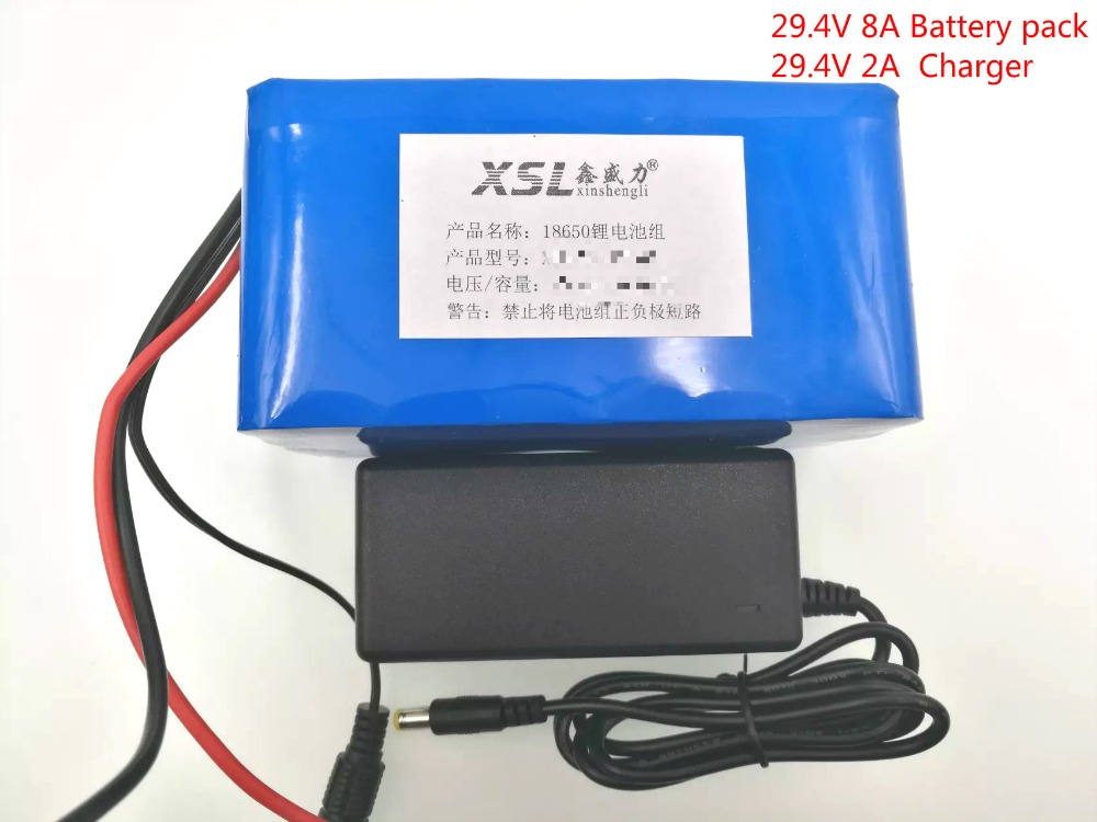 New 24V 8Ah 7S4P 18650 Battery li-ion battery 29.4v 8000mAh electric bicycle moped /electric/lithium ion battery pack+2A Charger 16 8v 2a 18650 lithium battery charger dc 5 5mm 2 1mm 110 220v 14 4v 4series lithium li ion battery wall charger