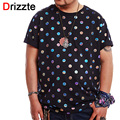 Drizzte Mens Plus Size 2XL-6XL Menswear t Shirts Color Dots Cotton Stretch Large Plus Size Clothes Big and Tall Clothing